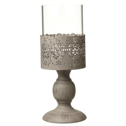Metal Cut Out Flower Candle Holder