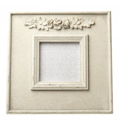 Cream ornate square photo frame with a wide border and pretty cluster of detailed flowers at the top