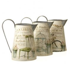 Antique style metal jugs with a mix of 3 chic flea market designs