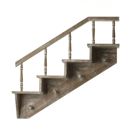 Wooden Shelf in the style of a staircase with hooks