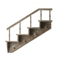 Wooden Shelf in the style of a staircase with 4 steps and 4 hooks