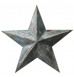 A 3D wooden hanging star with a distressed white wash finish. Hang around the home for good luck.