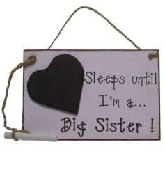 A lovely gift for soon to be big sisters! A pink shabby chic heart countdown sign.