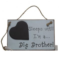 A shabby chic wooden sign with a days until brother heart chalkboard countdown