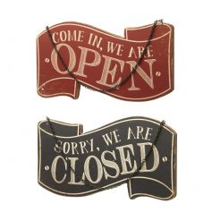 A double sided retro open and closed sign in black and red colours.