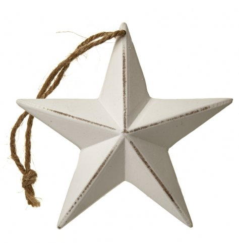 A shabby chic white wooden star decoration with a distressed finish and jute string hanger.