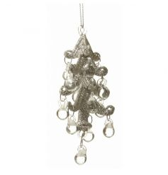 Intricate glass tree decoration with glass beads in a gold glitter design