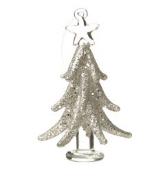 Hanging glass tree decoration finished in a glitter design