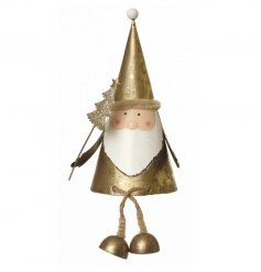 Quirky sitting Santa decoration in a festive gold colour