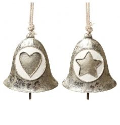 Metal hanging bell decorations in an assortment of 2 heart and star designs