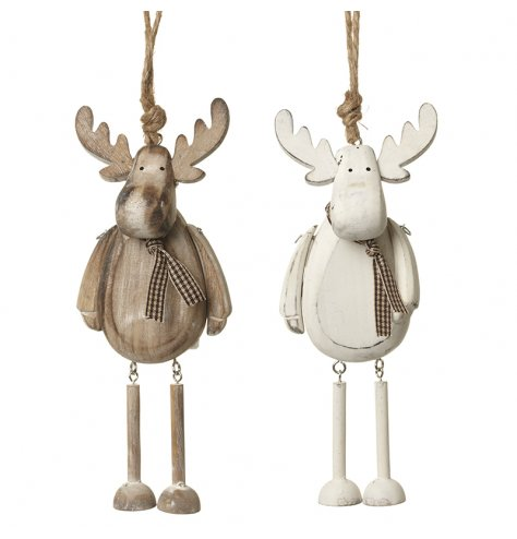Assorted white and natural wooden moose decorations with gingham scarves and jointed legs. Complete with jute hangers.