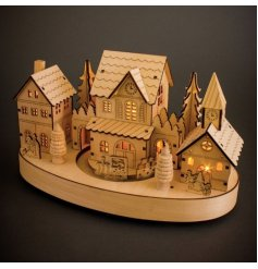 Festive wooden Christmas scene with intricate detail