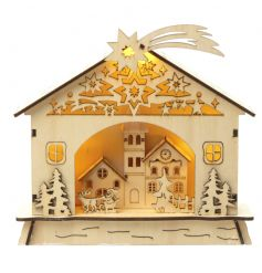 Intricate wooden scene with pretty LED lights
