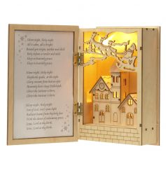 Chic natural wooden scene with pretty LED lights inside