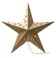 A decorative wooden star with LED lights inside