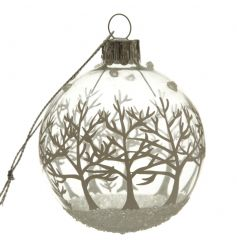 Glass bauble with winter tree scene in a silver glitter