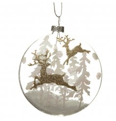 Glass hanging bauble with glitter deer design and snow inside