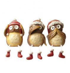 Adorable mix of 3 sitting owls in the see, speak, hear positions with festive hats and boots