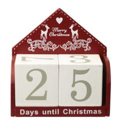 Wooden advent calendar finished in festive red and white colours