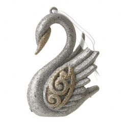 Decorative hanging swan in festive gold and silver colours