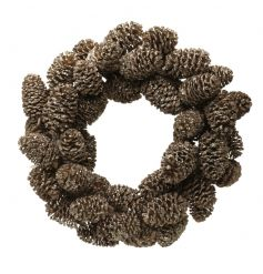 Small wreath made of pinecones with glitter