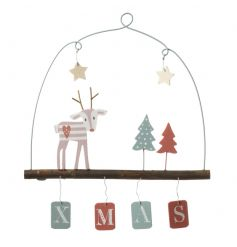 A pretty pastel coloured hanging XMAS sign with intricate reindeer scene.