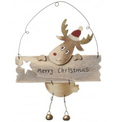 A wooden Merry Christmas sign with an adorable reindeer and festive bells.