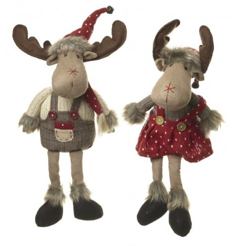 Boy and girl fabric sitting moose decorations in red and brown twee woodland outfits.
