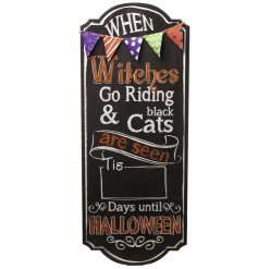Halloween Count Down Wooden Sign with Colourful Bunting around the top