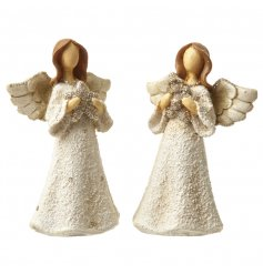 A mix of 2 small cream Angels with gold glitter