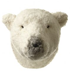 An adorable large polar bear head with a glitter finish which can be mounted on the wall.