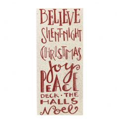 A white, red and glitter wooden sign with festive wording.
