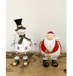Mix of 2 Metal Snowman And Santa Standing