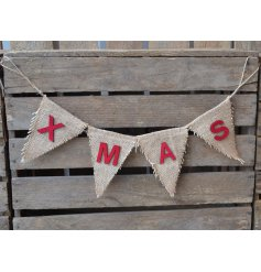 Hessian garland bunting with 'XMAS' text, a nice finishing touch to decorate the living room