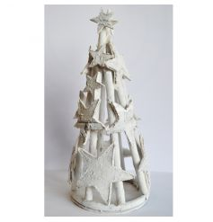 A rustic tree decoration made from rattan and birch with decorative stars.