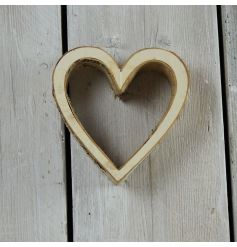 A chunky 3D heart decoration with birch detailing. Perfect for a cosy woodland look.