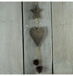 Driftwood and pine cone hanging decoration for use in the home