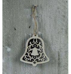 Decorative hanging bell with a stencil design hung with a rustic string