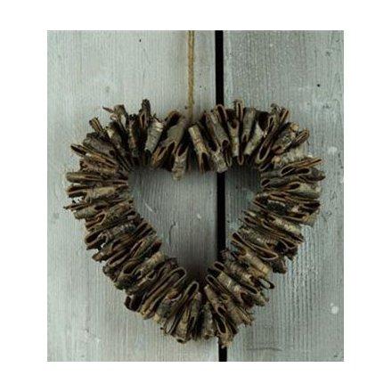 Birch Bark Open Heart Wreath 28cm