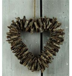 Popular bark style heart shaped wreath with a rough luxe design