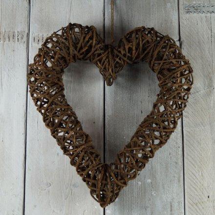 Natural Dark Rattan Heart, Large