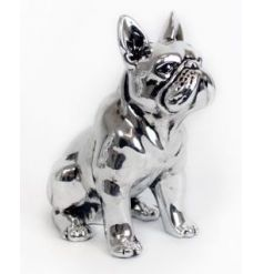 Antique style sitting bulldog ornament in silver
