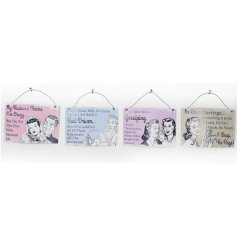 Shabby and chic retro signs in an assortment of 4 designs
