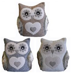 Rustic style owl doorstop with soft to touch finish