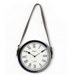 Metal hanging wall clock hung with a sleek and classic strap