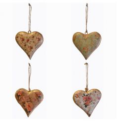 Hanging wooden hearts in an assortment of 4 floral designs with distressed finish