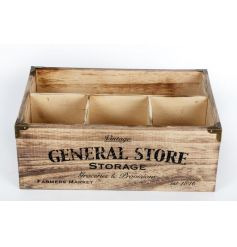 Rustic wooden storage box with popular General Store print