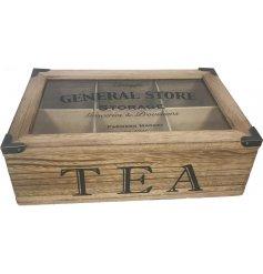 A stylish wooden tea box with an industrial stamp and metal features.