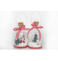 Vintage style glass bottles filled with christmas wishes. Each has a gingham bow and cork lid.