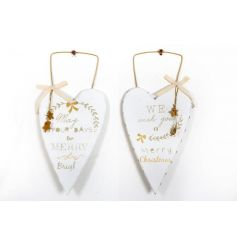 Chic gold and white hanging hearts with festive slogans, ribbon and hanging stars.